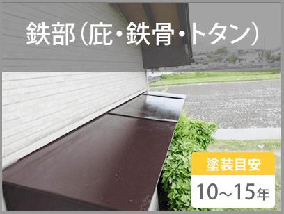 鉄部(庇・鉄骨・トタン) 塗装目安10~15年